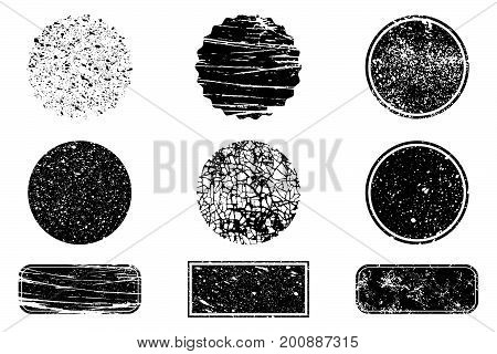 Grunge Post Stamps Collection, Circles. Banners, Logos, Icons, Labels And Badges Set . Vector Distre