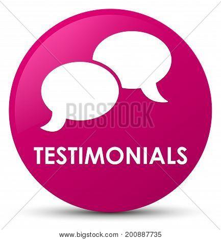 Testimonials (chat Icon) Pink Round Button