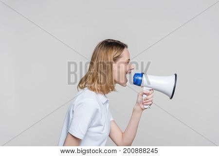 Woman Screaming Into Megaphone