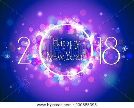 Happy New Year 2018 vector colorful background vector illustration with well organized layers