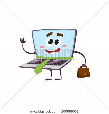 vector flat cartoon funny laptop humanized character with arms, legs and face in green necktie holding handbag in hand saying hello smiling. Isolated illustration on a white background.