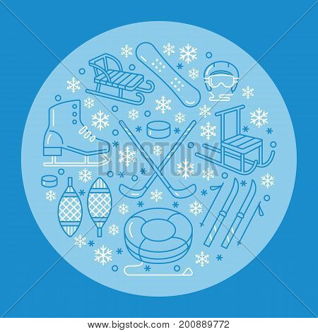 Winter sports banner, equipment rent at ski resort. Vector line icon of skates, hockey sticks, sleds, snowboard, snow tubing hire. Cold season outdoor activities template.