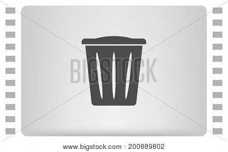 Flat Paper Cut Style Icon Of Trash Can