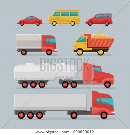 Car icons. city transport. Sedan van cargo truck off-road bus Tipper fuel carrier. Set of urban public and freight transport. Flat style icon illustration design