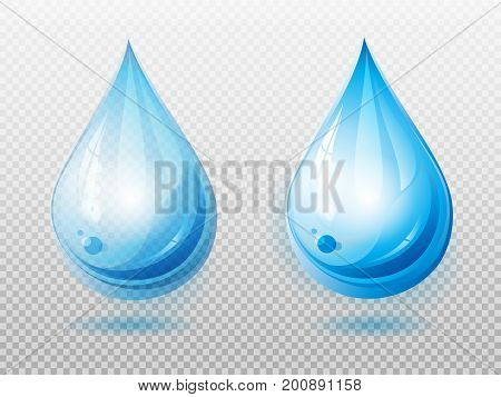 Water drop. Two variants of a drop. Transparent and opaque water drop. Element for your design. Vector illustration.