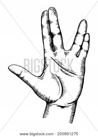 Hand show gesture engraving vector illustration. Scratch board style imitation. Hand drawn image.