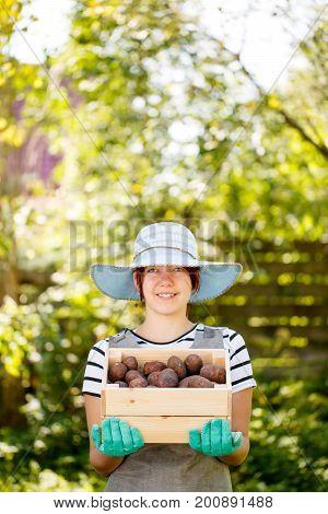 Photo of farmer's girl with potato box in summer garden, focused on potatos.