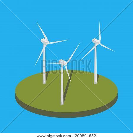 Wind power station colorful minimalistic isometric style vector illustration