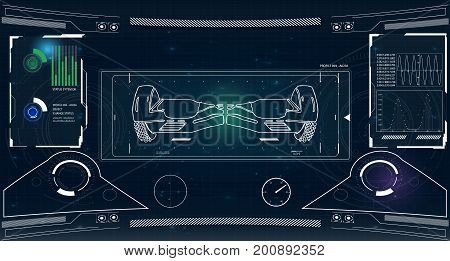 Futuristic user interface for GyroScooter. Abstract virtual graphic touch user interface. HUD. Hi-tech basic. white elements. UI hud infographic interface screen monitor radar set web elements