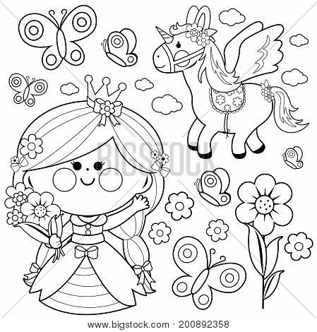 Princess fairy tale set. Black and white coloring page vector illustration