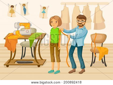 Colorful tailor shop template with master taking measurement from woman and professional equipment in workshop vector illustration