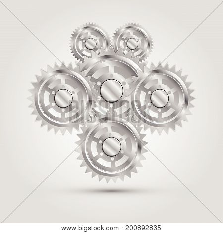 Metal Mechanical Gear parts engine machine Vector illustration