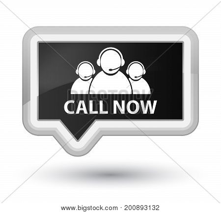 Call Now (customer Care Team Icon) Prime Black Banner Button