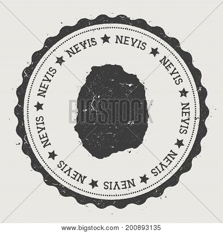 Nevis Sticker. Hipster Round Rubber Stamp With Island Map. Vintage Passport Sign With Circular Text
