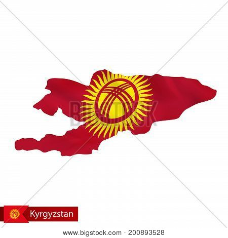 Kyrgyzstan Map With Waving Flag Of Country.