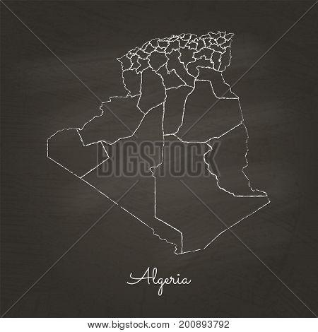 Algeria Region Map: Hand Drawn With White Chalk On School Blackboard Texture. Detailed Map Of Algeri