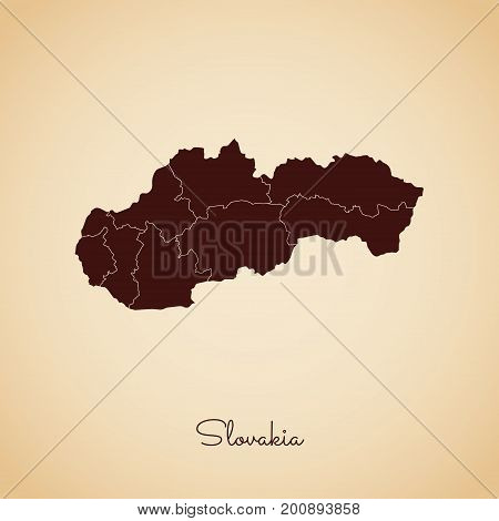 Slovakia Region Map: Retro Style Brown Outline On Old Paper Background. Detailed Map Of Slovakia Reg