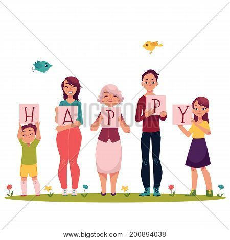 Family concept - parents and children holding boards with letters of the word HAPPY, cartoon vector illustration on white background. Family members holding letters of Happy word, full length portrait
