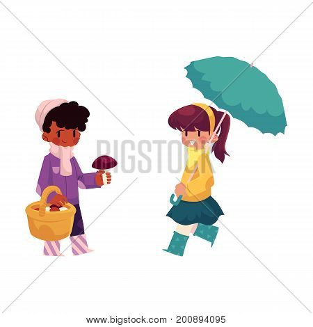 vector girls character set. Girl walking keeping umbrella in hand, girl collecting mushrooms in autumn clothing. cartoon isolated illustration on a white background. Autumn kids activity