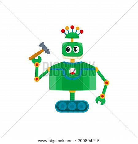 vector flat cartoon funny friendly robot. Humanoid male character with crawler tracks, antennas on head holding repairing tool in hand. Isolated illustration on a white background.
