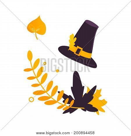Cartoon two color pilgrim hat and fall, autumn leaves, Thanksgiving decoration element, vector illustration isolated on white background. Pilgrim hat and fall, autumn leaves, Thanksgiving decoration