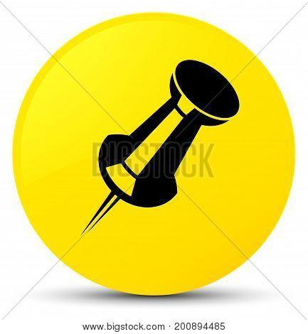 Push Pin Icon Yellow Round Button
