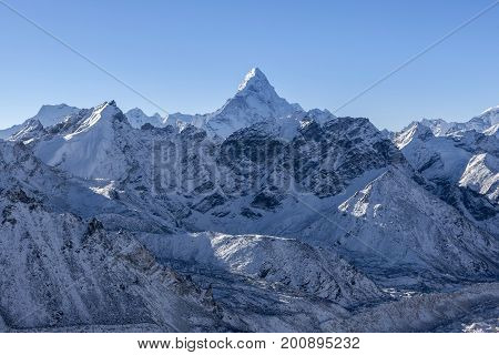 Ama Dablam Mountain Landscape. Sharp Mountain Peak Standing Out Among Himalayan Mountain Range. Stun