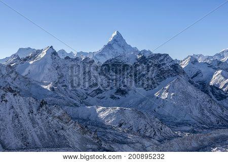 Ama Dablam Mountain Landscape. Sharp Mountain Peak Standing Out Among Himalayan Mountain Range. Stun