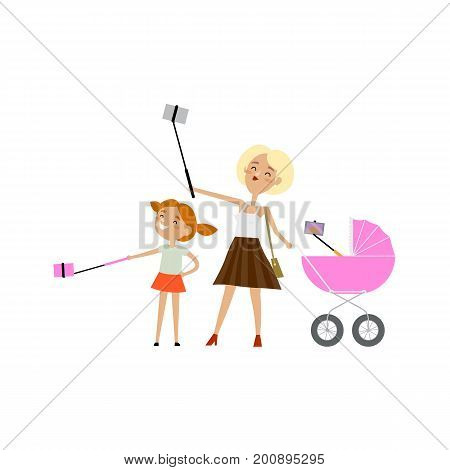 Young woman, her daughter and newborn baby in pram all making selfie, flat cartoon vector illustration isolated on white background. Family of young mother, daughter and baby in pram make selfie