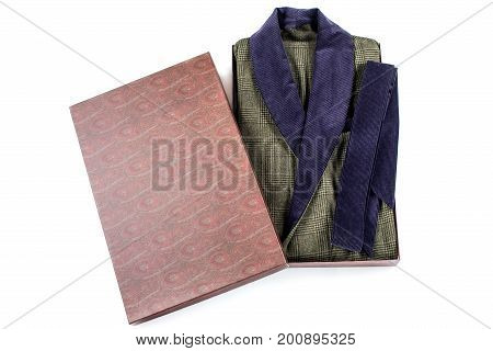 Male gift wrapped robe isolate. Packed bathrobe