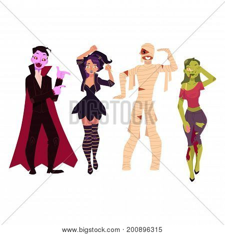 People in Halloween party costumes - witch, zombie, vampire, dracula, mummy, cartoon vector illustration isolated on white background. Friends dressed for Halloween - witch, zombie, dracula, mummy