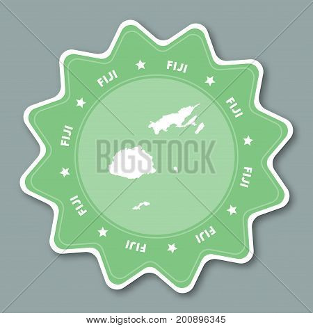 Fiji Map Sticker In Trendy Colors. Star Shaped Travel Sticker With Country Name And Map. Can Be Used