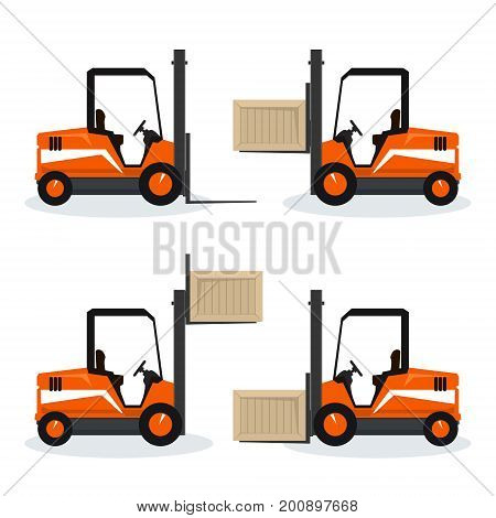 Orange Forklift Truck with Different Cargo Positions, Vehicle Forklift Picks up a Box, Cargo Below in the Middle and Above and Without , Vector Illustration