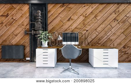 Modern office or study interior with a small desk with double cabinets, a swivel chair and diagonal wood paneling on the wall. 3d render.