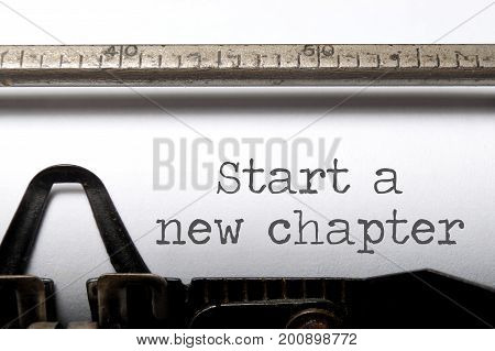 Start a new chapter printed on an old typewriter