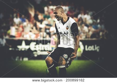 VALENCIA, SPAIN - AUGUST 18: Zaza during Spanish La Liga match between Valencia CF and Las Palmas UD at Mestalla Stadium on August 18, 2017 in Valencia, Spain