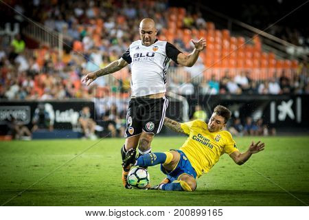 VALENCIA, SPAIN - AUGUST 18: Zaza (L) during Spanish La Liga match between Valencia CF and Las Palmas UD at Mestalla Stadium on August 18, 2017 in Valencia, Spain