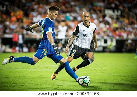 VALENCIA, SPAIN - AUGUST 18: Chichizola with ball during Spanish La Liga match between Valencia CF and Las Palmas UD at Mestalla Stadium on August 18, 2017 in Valencia, Spain