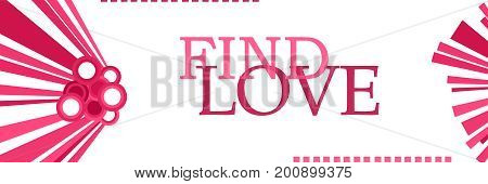 Find love text written over abstract pink background.