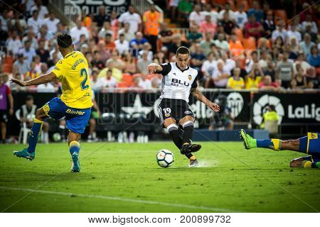 VALENCIA, SPAIN - AUGUST 18: Rodrigo with ball during Spanish La Liga match between Valencia CF and Las Palmas UD at Mestalla Stadium on August 18, 2017 in Valencia, Spain