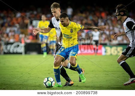 VALENCIA, SPAIN - AUGUST 18: Viera with ball during Spanish La Liga match between Valencia CF and Las Palmas UD at Mestalla Stadium on August 18, 2017 in Valencia, Spain
