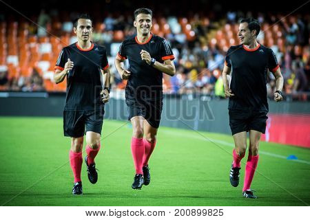 VALENCIA, SPAIN - AUGUST 18: Refereee Team during Spanish La Liga match between Valencia CF and Las Palmas UD at Mestalla Stadium on August 18, 2017 in Valencia, Spain