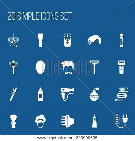 Set Of 20 Editable Barbershop Icons. Includes Symbols Such As Shaver, Curler Device, Gel And More