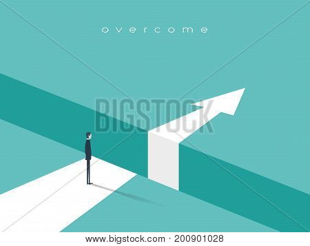 Business challenge or obstacle vector concept with businessman standing on the edge of gap, chasm with arrow going through. Concept of courage, bravery, risk. Eps10 vector illustration.