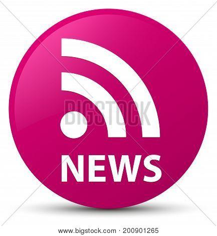 News (rss Icon) Pink Round Button