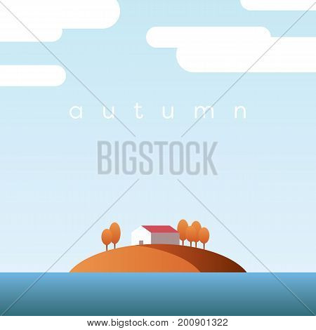 Autumn landscape vector concept with lake house on an island and orange trees with foliage in clear fall sky. Eps10 vector illustration.