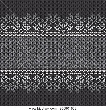 Traditional Fair Isle Style Seamless Knitted Pattern. Vector Background with a Place for Text
