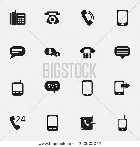 Set Of 16 Editable Phone Icons. Includes Symbols Such As Home Cellphone, Radio Talkie, Telecommunication And More