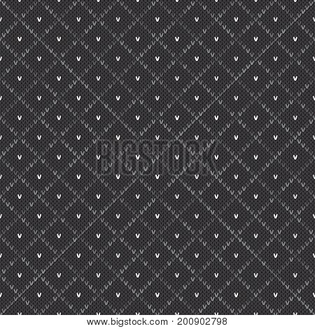 Abstract Knitted Pattern. Vector Seamless Background with Shades of Gray Colors. Knitting Wool Sweater Design