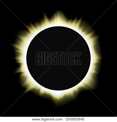 Illustration of a total sun / solar eclipse. Vector